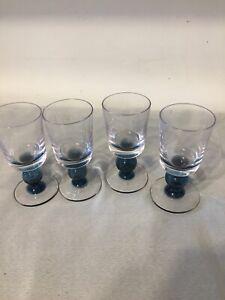 4 X Art Glass Blue Stem Retro Vintage
