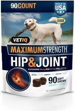 New listing Vetiq Max Strength Hip & Joint Supplement For Dogs Chicken Flavored Soft 90 Cts
