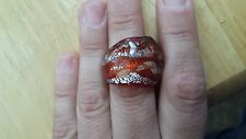 WOMANS MURANO GLASS NATUREL SILVER & BROWN COLOR  RING SZ 8