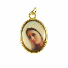 Queen of Peace Virgin Mary image Catholic rosary medal pendant gold metal