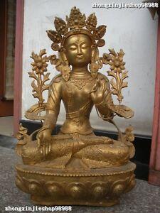 "22""Tibet Monastery Bronze Gild carve White Tara Kwan-Yin Buddha Statue"