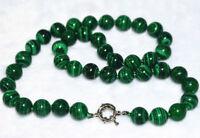 "Beautiful 8mm round green malachite gemstone beads necklace vintage 18"""