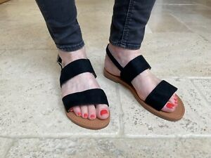 Womens Slingback Sandals Strappy Flat Sliders By CM Paris - 839 751 Black