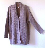 New~J Jill~Heather Chocolate Brown Cardigan Sweater Knit Top~Size Large XL 1X
