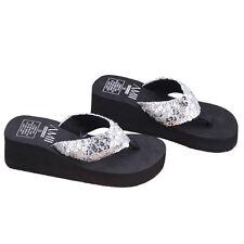 Summer Soft Women Wedge Sandals Sequin Thong Flip Flops Platform Slippers