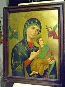 Altes Bild Heiligenbild Maria und Kind Jesus Ikone hinter Glas Holzrahmen (1946)