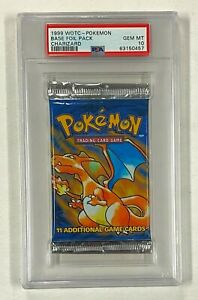 1999 Pokemon Charizard Cover Base Foil Pack Unopened WOTC PSA 10 GEM MINT