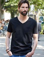 T-Shirt Herren tiefer V-Ausschnitt Baumwolle Kurzarm Brusttasche S - 3XL TeeJays