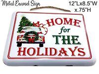 Christmas Tree Ornament Vtg Red Truck Wreath Holiday Decor ation Metal Enamel Lg