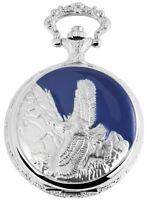 Taschenuhr Weiß Silber Blau Klassik Adler Berge Analog Quarz D-181822000027350