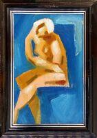 """Russischer Realist Expressionist Öl Pappe """"Akt"""" 15x10 cm Rahmen 17x12 cm"""