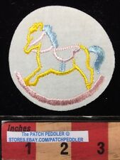 Baby Children ROCKING HORSE PATCH ~ YELLOW HORSE WITH BLUE TAIL 5DA9