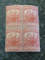 NEWFOUNDLAND POSTAGE STAMPS SG131a TWO CENTS BLOCK OF 4 CARMINE RED LMM/UMM