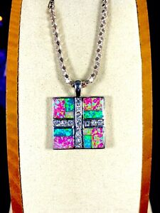 HAVANA 925 STERLING SILVER FINISH SYNTHETIC OPAL CUBIC ZIRCONIA SQUARE PENDANT