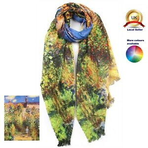 Cashmere blend Oil Painting Art print woman girl winter Scarf perfect gift