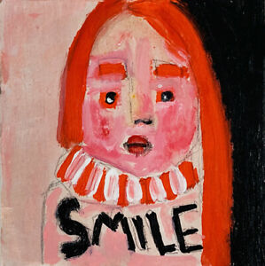Outsider Art Portrait Painting SMILE Katie Jeanne Wood