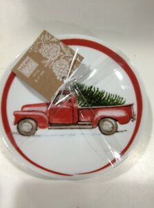 222Fifth Winter Cheer Christmas Tree Red Truck New 4 Appetizer  Dessert Plates