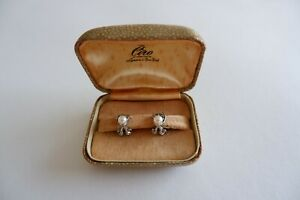 CIRO VINTAGE SILVER CULTURED & MARQUISATE SPRING CLIP EARRRINGS - C1940'S, BOX,