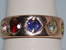 10k Gold ring with Pink,Red, Blue, White, Yellow Gemstones