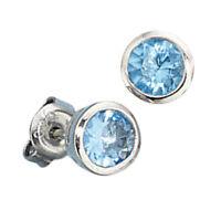 Ohrstecker Stecker Ohrschmuck, Kristall aqua blau, 925 Silber, Damen