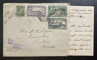 1943 Gibraltar RCAF Field Post Censored Airmail Cover To Canada With Letter