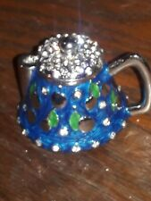 Blue Teapot Hand Painted Enamel And Base Metal With Crystals