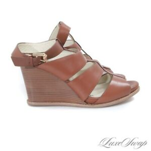 NIB $248 Brooks Brothers Saddle Tan Leather Strappy Wedge Sandals Shoes 7.5 #4