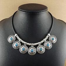 "women Bohemian Turquoise round Tibetan Silver Pendant statement Necklaces 18"""