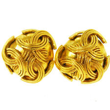 """Clip-On 1.0 - 1.0 """" Ak16661f Auth Chanel Vintage Cc Logos Earrings Gold-Tone"""