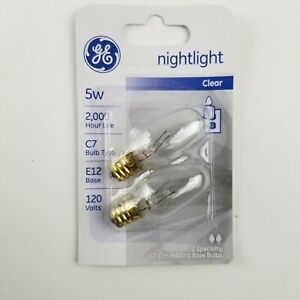 GE 5w Nightlight Clear C7 Bulb E12 Base 27979