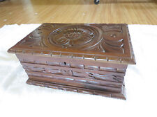 Vintage Hand Carved Wooden Large Jewelry Trinket Box 12 x 8 x 5