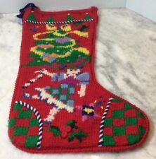 Vintage Berek Hand Knitted Christmas Stocking With Tree And Doll Checked