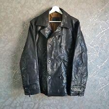 Strellson Swiss Cross Black Leather Pea Coat Jackets Size 48/S