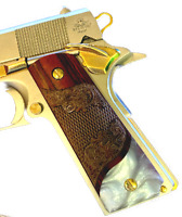 1911 GRIPS for Colt & Clones Gun Mother of Pearl Carved Rosewood Bottom Pearl