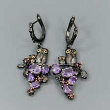 Handmade Natural Amethyst 925 Sterling Silver Earrings /E34970