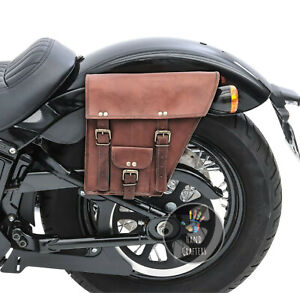 Pair Genuine Leather Motorcycle 2 Saddle Bag Brown Swing Arm Tool Pouch Panniers