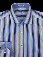 Bugatchi Uomo Mens Blue Striped Button Front Flip Cuff Shaped Fit Shirt Large