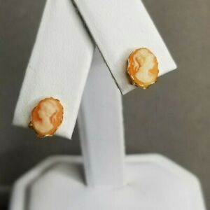 Vintage 14k Yellow Gold Peach Ponytail Cameo Pierced Post Earrings