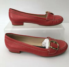 RIVA Ladies Coral leather Flat Mocassin Brogue Buckle Front Uk 6 Eu39 NEW