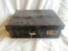 More details for antique metal deed box with key 360mm (14
