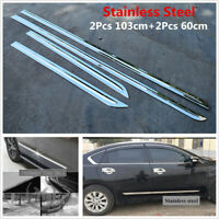4Pc Chrome Stainless Steel Car SUV Door Side Skirt Molding Trim Strips Universal