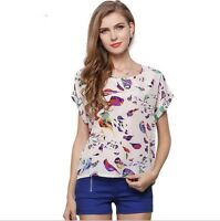 Women's Colorful Chiffon Casual Summer Short Sleeves Tops T-shirts Size 10 TO 18