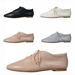 Women Leather Round Toe Low Top Lace Up Flats Oxfords Ballet Comfortable Shoes