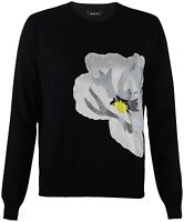 New Topshop Black Gauge Soft Touch Flower Applique Jumper RRP £45 Sizes 6-12