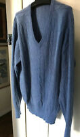 Best Of Scotland Mens NEW Sweater 100% Cashmere Cable Blue Sz 46
