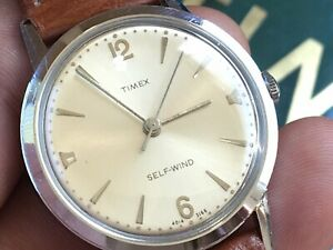Vintage 1966 Timex Viscount Series Auto Mechanic Men's Watch Serviced New Strap