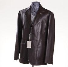 NWT $6900 BRIONI Chocolate Brown Nappa Calf Leather Blazer 40 R M (Eu 50) Jacket