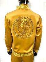 New Mens Khaki Zip Up Jacket Medusa on back with Gold Greek Pattern Collar
