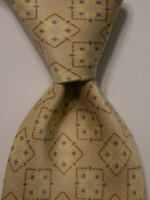 ERMENEGILDO ZEGNA Men's 100% Silk Necktie ITALY Luxury Geometric Ivory/Brown EUC
