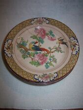 "VINTAGE POPE-GOSSER 7 1/4"" CHINA PLATES, SET OF FIVE, ONE DAMAGED SOME CRACKLING"